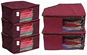 Kuber Industries 3 Piece Non Woven Saree Cover Set, Maroon & 2 Pieces Non Woven Blouse Cover Set, Maroon Combo