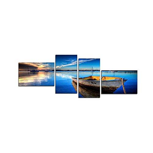 Berger Designs 4 teiliges Wandbild xxl 4 x 30x50 cm (Deep_Blue_60x170cm). Mehrteiliges Natur-Bild auf Leinwand und Keilrahmen, beste Qualität, handgefertigt in Deutschland!
