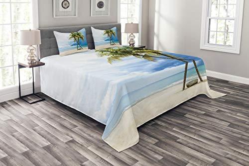 Abakuhaus hawaiisch Tagesdecke Set, Strand-Palmen-Felsen, Set mit Kissenbezügen Klare Farben, für Doppelbetten 220 x 220 cm, Grün Blau