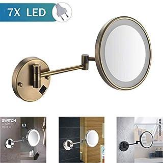 Miroirs cosmétiques muraux Miroirs fixés au mur de 8 pouces miroir de maquillage grossissement 7x grossissement maquillage miroir de la meilleure qualité de LED pour la vanité de l'hôtel avec la fiche