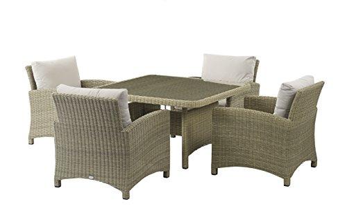Naunton Manor Lounge Esstisch mit vier Sofa Sessel-Stroh -