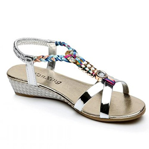 LUCKYCAT Amazon, Sandales d'été Femme Chaussures de Été Sandales à Talons Sandales Plates Diamant de Mode Casual Sandales à Talons Hauts Chaussures de Plage 2018 (36EU, Argent)