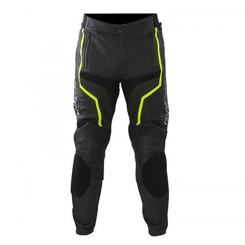 Pantalon moto cuir Bering FLASH Noir/Fluo - XXL