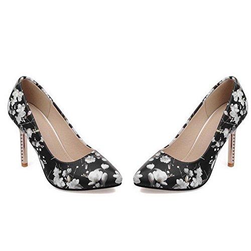 AllhqFashion Femme Pu Cuir à Talon Haut Pointu Couleurs Mélangées Tire Chaussures Légeres Noir
