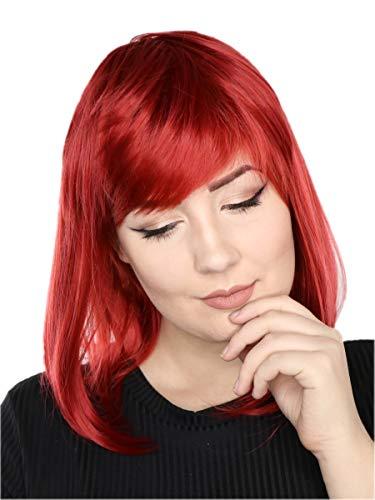 Prettyland Rot Mittellange Glatte Natürlich Matte wie Echthaar hitzefeste Volumen Perücke Wig ()