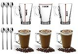 Ever rich ® 240 ML Bicchieri Latte Caffè Tazza Di Tè (Fits Tassimo e Dolce Gusto) Set Di 6 Bicchieri (240ML + Spoons)