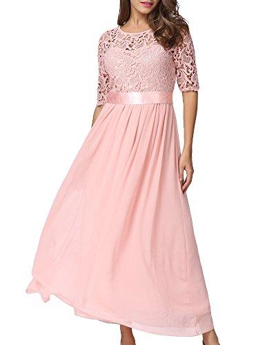 Romacci Damen Chiffon Spitze Kleid Sleeveless O Ansatz Normallack Elegante Prinzessin Party Kleid (XXL, Pink-2)