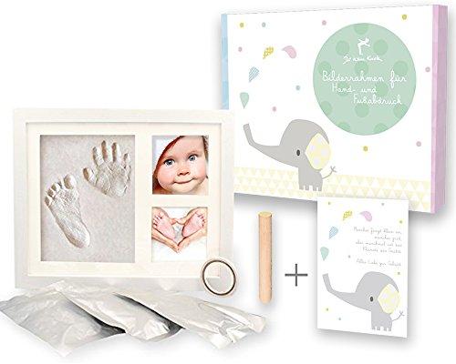 Mit Geschenk-Box - Freundlicher Baby Handabdruck und Fussabdruck - Bilderrahmen - Erinnerungen für die Ewigkeit -Gipsabdruck - Pate Geschenk Geburt Taufe - Handabdrücke - Der kleine - Andenken-foto-box