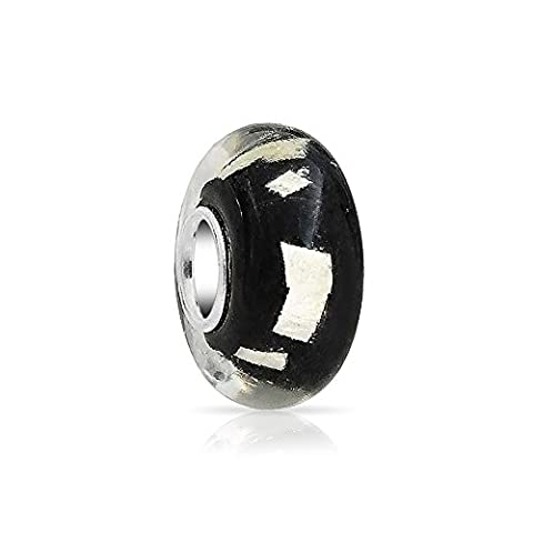 Bling Jewelry Black Murano Glitter glass Metallic Foil Round Bead Charm .925 Sterling Silver