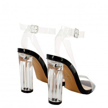 Ideal Shoes - Sandales transparentes Nori Noir