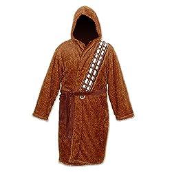 Elbenwald Star Wars Chewbacca Wookie Bademantel sehr flauschig, mit Energiegürtel, Beuteltasche, Kapuze, braun