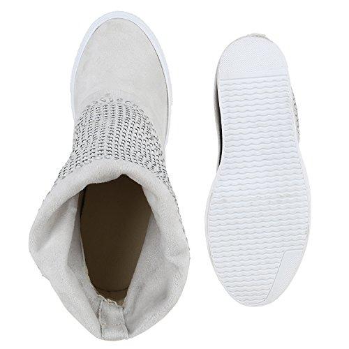 Damen Stiefeletten Keilabsatz Nieten Hidden Wedges Boots Creme