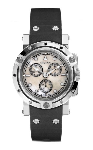Nautica A37003L Unisex OBLO Swiss Chronograph Black PU Watch With Mother Of Pearl Dial