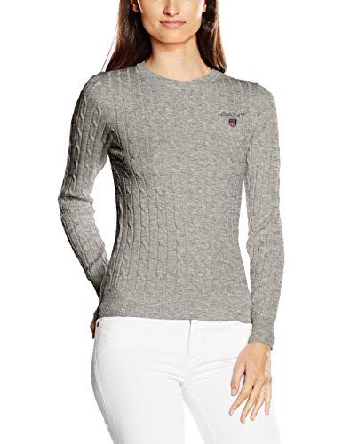 GANT Damen Pullover, Gant Women's Stretch Cotton Cable Crew , Grau (Light Grey Melange), Gr. X-Large (Herstellergröße: 16) (Cable X-large Knit)