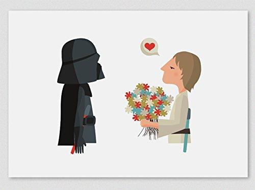 Herzlichen Glückwunsch Papa! Stars Wars. Darth Vader & Luke (Kunstdrucke A4 / A3)
