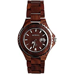 Wooden Watches - Kingwo Retro Watches BEWELL Wooden Watch Men Quartz with Luminous Hands 30M Water Resistance( Red sandalwood)