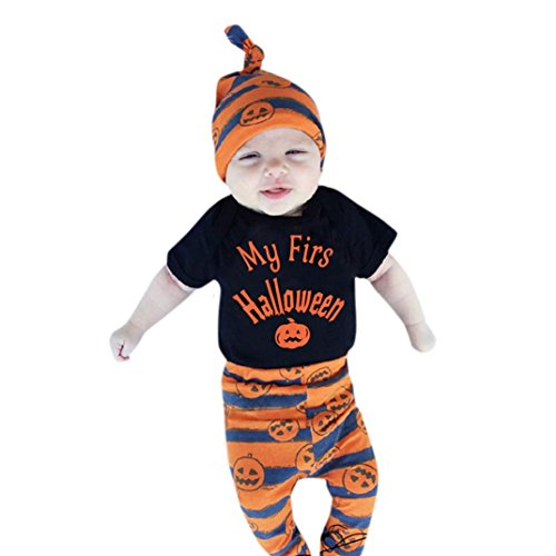 BURFLY Kinderkleidung ♥Neuer Baby-Jungen-Halloween-Kürbis-Spielanzug Overall + Hosen + Hut-Satz-Kleidung 3PCS (100, Schwarz) (Katze In Den Hut Partei Ideen)