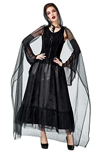 mit Schwarz Kleid Witch Vintage Cosplay Cloak Dress Halloween Kostüm Outfit ()