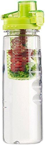 Rosenstein & Söhne Kunststoff-Trinkflasche: Tritan-Trinkflasche mit Fruchtbehälter, BPA-frei, 800 ml, grün (Trinkflasche mit Obsteinsatz)