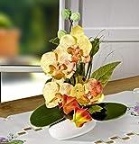 GKA Orchideen und Lampionblume Gesteck im Topf gelb rot 18 x 30 cm Kunstblume Deko Blumengesteck in Vase