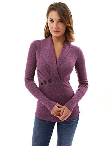 PattyBoutik femmes plissé détail blouse à col châle à manches longues magenta chiné