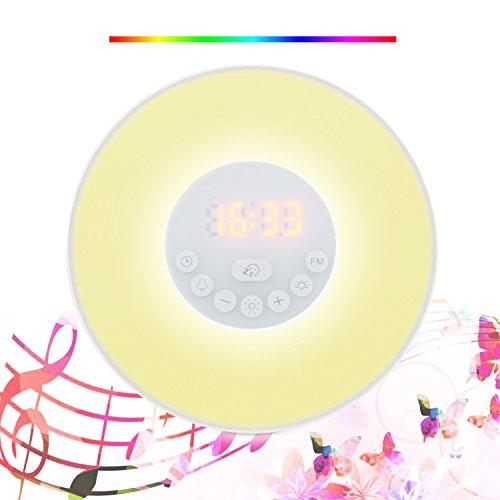 Lumière de réveil, PEMOTech Nouvelle mise à niveau Wake up Light Réveil avec une simulation du lever du soleil et du couche du soleil, une fonction Snooze intelligente, éclairage de nuit à changement de 7 couleurs, radio FM, son de la nature, panneau tactile et chargeur USB.