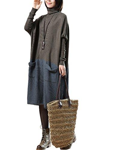 Vogstyle Femme Pull Bicolore Manches Longues Vintage Fluide Grandes Poches en Coton Style 4 Kaki