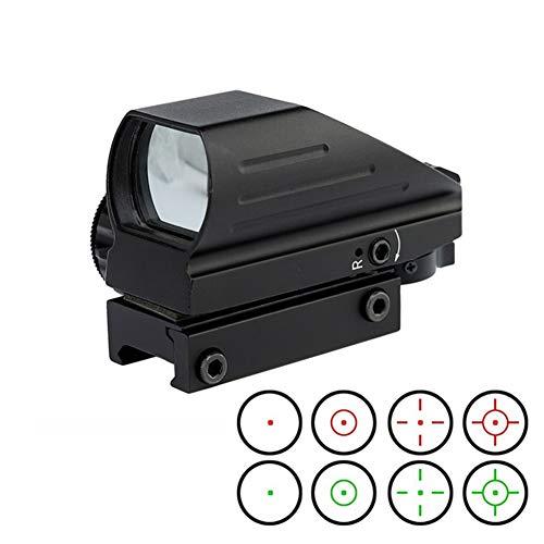 YODZ Holographischer Anblick Roter grüner Punktvisier 4 Modi Taktisches Zielfernrohr Abnehmbarer Schienenmontage mit 0,8 Zoll (20 mm) Anti-Vibrationsoptik