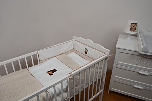 Velinda 4-tlg. Baby-Bettwäsche-Set mit Stickerei Bettzeug Bettbezug für Babybett 120x60 (Muster: Honig) (Bettbezug Honig)