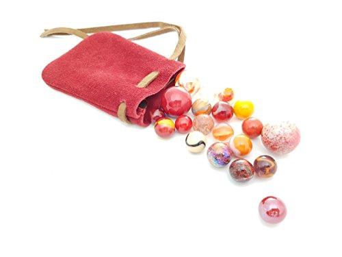 Mein Beutel mit murmeln Rot : Ledertasche (10 x 14) und Sein Set mit 20 passenden murmeln