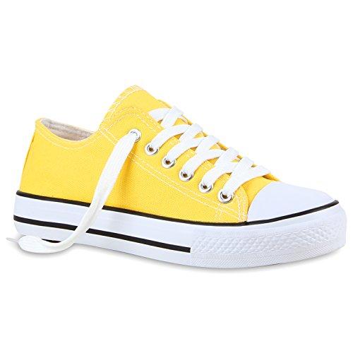 Freizeit Damen Sneakers Low Viele Farben & Größen Canvas Schuhe Gelb