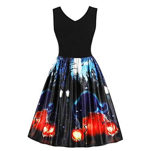 (Halloween Kostüm, Frashing Ladies Vintage Print Kleid Ärmelloses Kleid Faltenrock Damen Kleider Retro A-Linie Ohne Arm Kürbis Swing Kleider Skater Kleider für Party Cocktail und Kostüm)