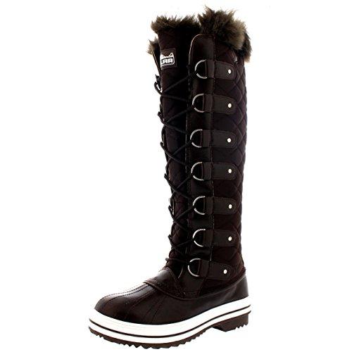Polar Damen Quilted Knie Hoch Ente Pelz Gefüttert Regen Schnüren Dreck Schnee Winter Stiefel - Braun Nylon - BRN40 AYC0039 (Nylon-winter-schnee-stiefel)