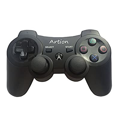 Artion Wireless Bluetooth Game Controllers for PS3 Controller Black by Artion