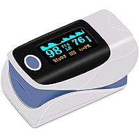 Finger oxymètre de pouls - Oxymètre de doigt - Moniteur de saturation sanguine avec écran OLED d'alarme - Oxymètre de doigt portable pour SpO2 et fréquence cardiaque