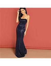 2489f233a XGDLYQ Azul Marino Elegante de Lentejuelas de Malla sin Tirantes del Vestido  de Noche de Cintura