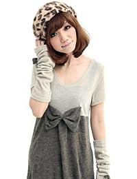 e8e5857e52c LOCOMO Women Girl Faux Rabbit Hair Leopard Print Pattern Slouchy Beret Beanie  Hat Cap Warm FAF030GRY