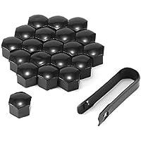 Tuercas para Rueda de Coche, 20 Unidades, 17 mm, Tapas de Rosca universales para Tapas de protección Antipolvo con 1 Clip, Negro
