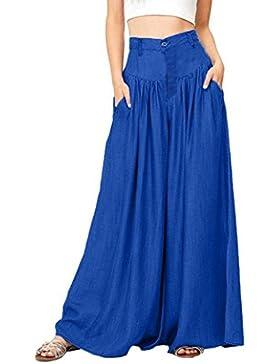 PAOLIAN Pantalones Tallas Grandes de Mujer Verano 2018 Casual Palazzo Pantalon Cintura Alta Pantalones de Pinza...