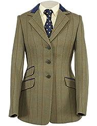 """Shires Huntingdon–Chaqueta de hípica para, color verde con ribetes de terciopelo, color  - Brown Green, tamaño 26""""/66 cm"""