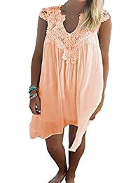 Hibote Women Summer Dress Lace Chiffon Dress Loose Fit Mini Dress Lady Casual Beach Dress Sleeveless O Neck Dress Party Dress