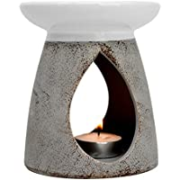 Piquaboo Large Grey Ceramic Oil Burner Height 13 cm - with Gift Box (Grey)