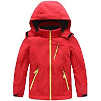 TAAMBAB Softshell Chaquetas Abrigos Impermeable Camping al Aire Libre Caminar Hoodie Coat para niños - con Forro de Felpa Interior