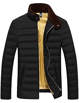 MHGAO Casual color sólido de los hombres calientes del invierno abajo cubre la chaqueta , black , l