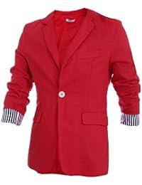 Sourcingmap Men Fashion Notched Lapel One-Button Closure Casual Linen Blazer