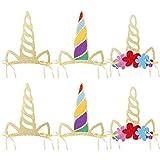 912 Pièces Licorne Thème Fête Corne de Licorne Chapeaux Chapeaux d'anniversaire Brillant Corne de Licorne Avec Paillettes Belle Corne Accessoires Pour Enfants Accessoires de Fête d'anniversaire Photo
