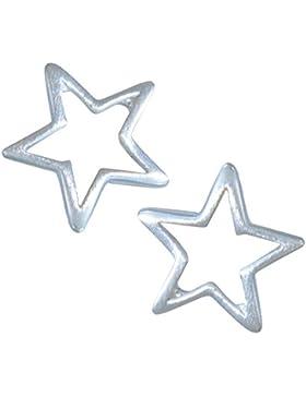 Janusch Ohrstecker Stern cut-out 925 Sterling-Silber matt, Serie Mond und Sterne