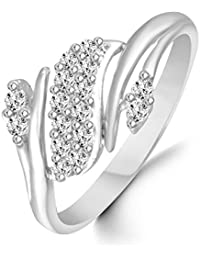 Classic Zig Zag Diamond Studded Rhodium Plated Alloy Cz American Diamond Finger Ring For Women & Girls [CJFR1280R]