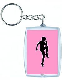 """'Porte-clés """"exercice de fitness de Femelle de Fille de Santé de humaine de Personnes de Exercice de personne de silhouette de femme en noir/blanc/bleu/rose/jaune/rouge/vert   Caddie–Sac Remorque–Sac à dos–Porte-clés, rose bonbon"""