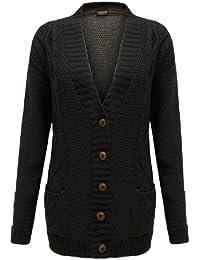 Cexi Couture - Gilet Femme Tricot Maille Bouton Style Grand-Père Cardigan Neuf - 36-42, Noir